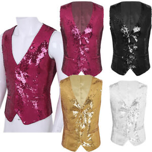 Men-039-s-Slim-Fit-Sequins-Vest-V-Neck-Party-Dress-Suit-Clubwear-Vest-Waistcoat-News