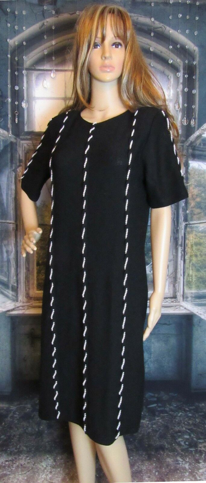 Vintage Steve Fabrikant Neiman Marcus Knit Dress Braided Pearl Embellished Sz SM