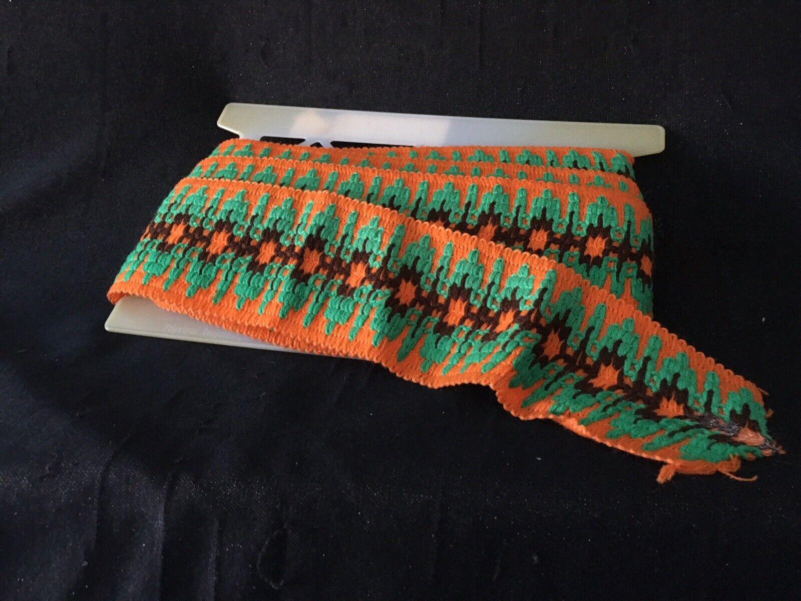 Vintage Trim Border Loom Bands Orange-Green 7,5 cm Old Stock 70er years-show original title