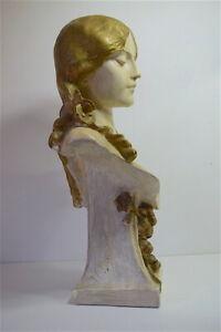 Buste-Femme-platre-peint-Art-Nouveau-jugendstil-signe-a-identifier-64-cm