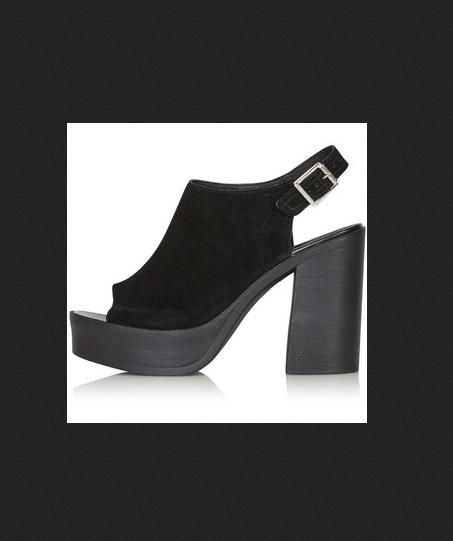 Topshop Nya grueso de gamuza con puntera abierta plataforma tacones sandalias Zapatos 39 8.5