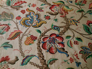 Vintage-French-Jacobean-Tree-of-Life-Cotton-Fabric-Green-Red-Blue-Mustard-Brown