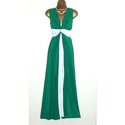 Long Jade/Cream Grecian Knot Panel Maxi Evening Party Dress Prom-Ball-Wedding