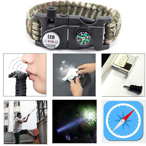 Paracord-Bracelet-LED-Flint-Fire-Starter-Compass-Whistle-Knife-Outdoor-Camping