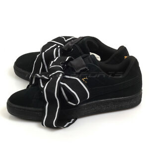 Details about Puma Suede Heart Satin II Wn's Black Black Classic Lifestyle Shoes 364084 01