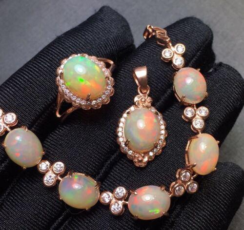 Certifié Naturel Opale de Feu Pierre précieuse 925 Pendentif En Argent Bague Bracelet Set chaîne