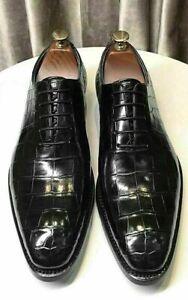 Chaussures-habillees-a-lacets-Oxford-en-cuir-noir-veritable-pour-hommes-faits-a