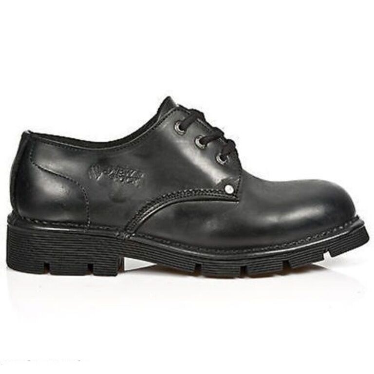 NEWROCK New Rock Newmili032-C1 Black Lace Up Unisex 3 Hole Casual Formal Shoes