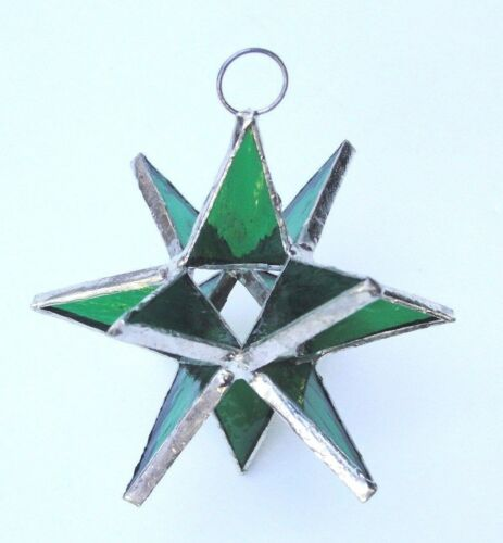 HANDCRAFTED  Stained Glass Moravian STARS GREEN wedding favor! Lot of 25 !