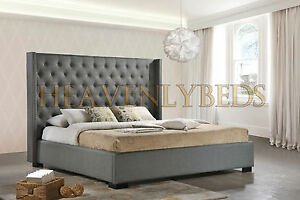 image is loading wingback bed frame upholstered fabric velvet chenille double - Wingback Bed Frame