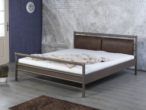 Bettgestell-Doppelbett-Metallbett-Bettrahmen-Polster-AURORA-140x200-Kupfer-NEU