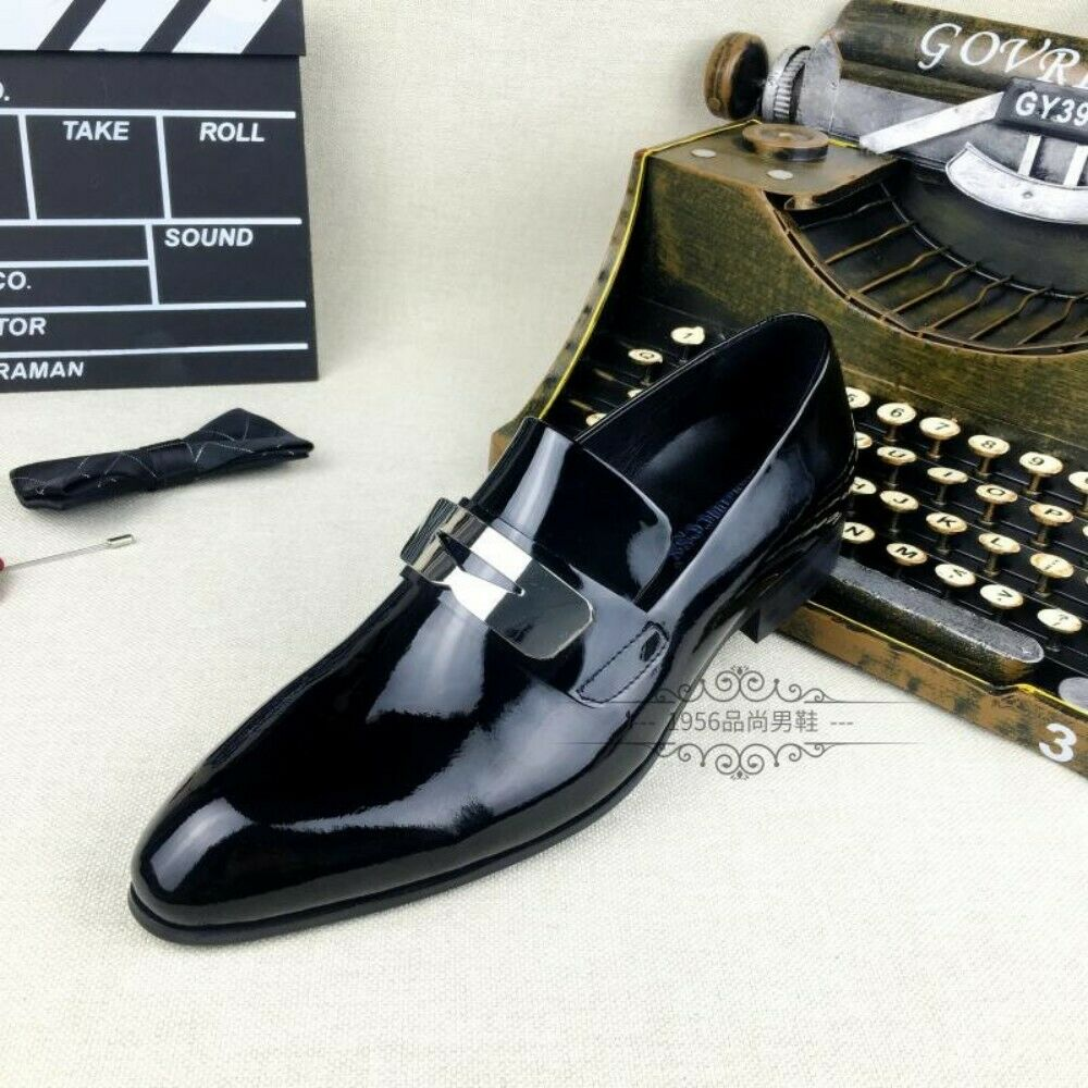 Men Birtish Style Style Style Patent Leather Pointy Toe Loafers scarpe Low Top Business Dress 09a132