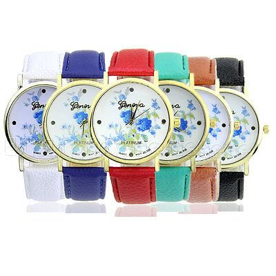 New Fashion Women  Faux Leather Geneva Rose Flower Watch Analog Quartz Watches
