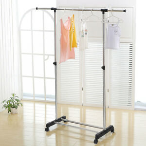 Heavy Duty Rolling Clothes Rack Hanging Garment Single Bar Durable