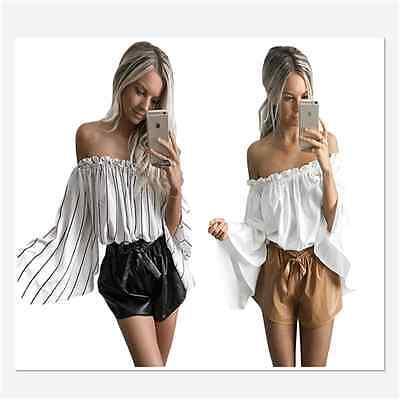 ba88f40554c432 Sexy Women Black Stripe Print Ruffled Women Blouse Off Shoulder Bell Sleeve  Top