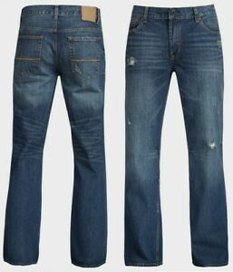 Mens-Bootcut-Regular-Fit-Distressed-Denim-Jeans-Ex-UK-Chainstore-Size-27-42