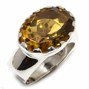 Beer-Quartz-Natural-Gemstone-Handmade-925-Sterling-Silver-Ring-Size-7-5-R-127