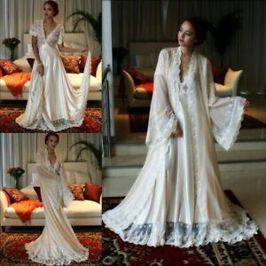 18f400a5b6d Image is loading Vintage-Women-Nightgowns-2-Piece-Sleepwear-Lace-Pajamas-