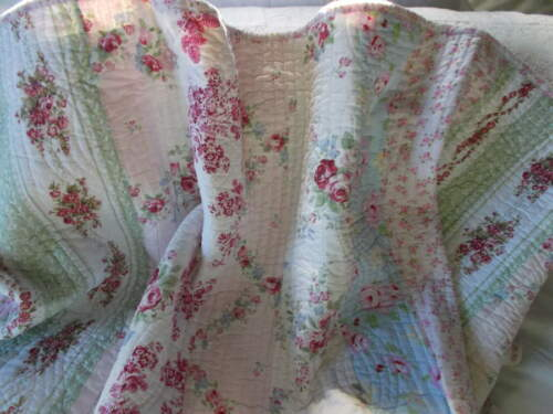 SHABBY CHIC QUILT KING RASBERRY TOILE ROSES SIMPLY GORGEOUS NO SHAMS QUILT ONLY