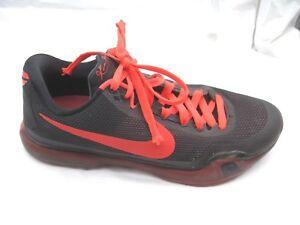 quality design 16806 ea7d1 Image is loading Nike-Kobe-X-black-crimson-red-basketball-shoe-