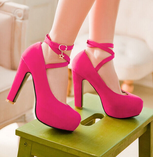 New Womens Party Shoes Faux Suede High Heel Platform Strappy Cross Pumps UK Size