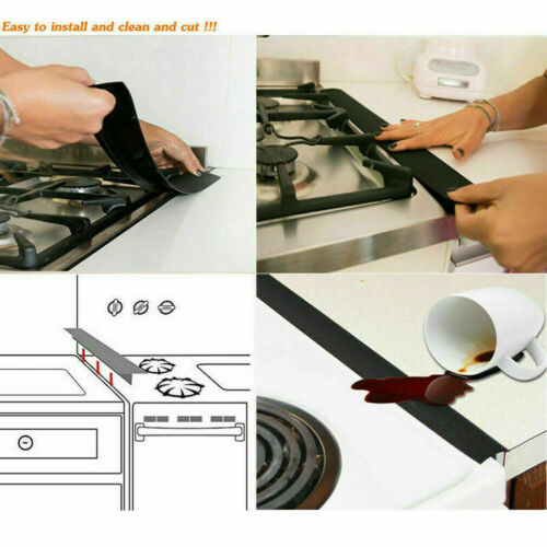 Other Kitchen Tools Gadgets Silicone Kitchen Stove Counter Gap Cover Oven Guard Spill Seal Slit Filler 1 2x Home Garden