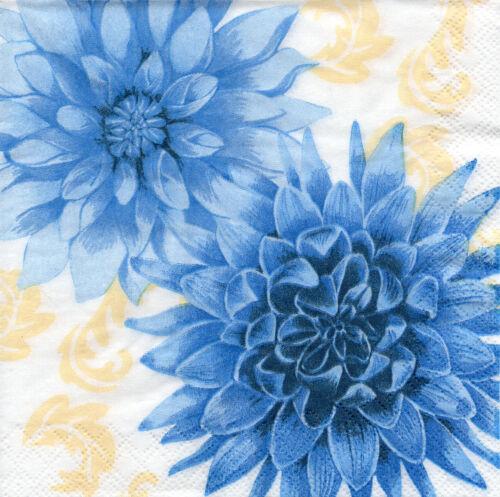 175 4 Servietten Motivservietten Napkins Papierservietten Blumen Blaue Dahlien