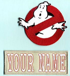 Adult-LADY-Ghostbusters-No-Ghost-amp-Custom-Name-Tag-Patch-Set-iron-on-style