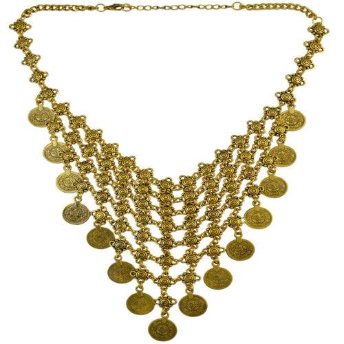 Statement Bib Choker Collar Coin Tassel Pendant Turkish Beach Necklace Gold