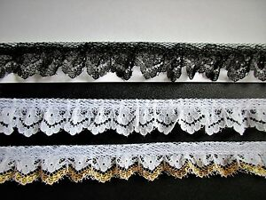 Ruffled Lace 1+1//8 inch black color selling by the yard