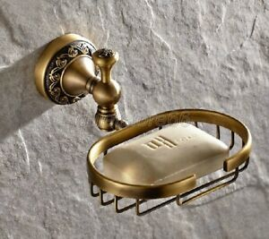 Classic-Antique-Brass-Bathroom-Wall-Mounted-Soap-Dish-Holder-Basket-qba493