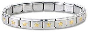 Italian-Charm-Bracelet-Stainless-Steel-Gold-Star-9-mm-Modular-Link-Free-Shipping