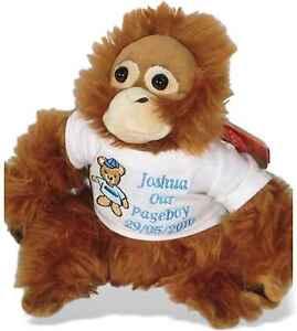 Personalised Teddy Bear Orangutan Pageboy Ring Bearer Wedding Favour Gift