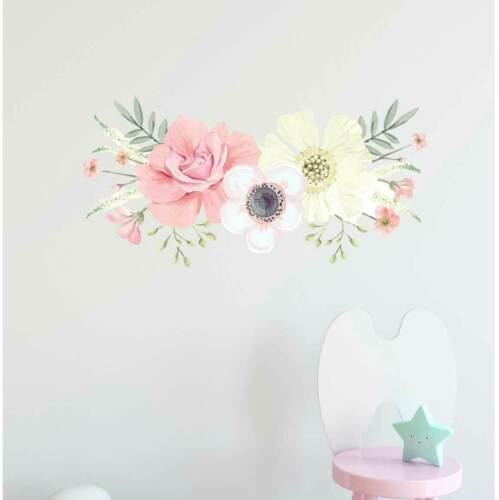 Personalised Name Flower Blossom Nursery Wall Sticker Home Art Decor Girls Decal