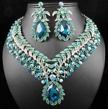 Vine Leaves Austrian Rhinestone Crystal Necklace Earrings Set Bridal Teal N812t