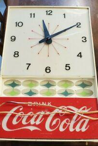 Vintage Drink Coca Cola Wall Clock Atomic Design Advertisement Clock 1960's ?