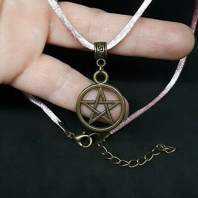 PENTAGRAM/_Bronze Pendant for Thick Chain or Euro Necklace/_Wiccan Pentacle Witch