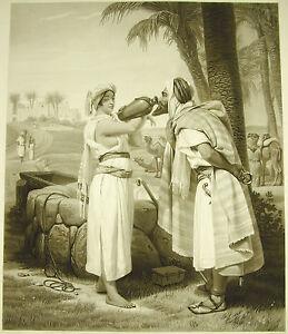 Rebecca À La Fountain Horace Vernet Sc Engraving C 1860 Jewish & Esta