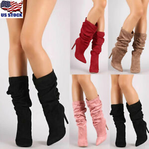 Womens-Pointed-Toe-Mid-Calf-Boots-Suede-Slouch-Stiletto-High-Heel-Boots-Shoes-US