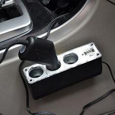 HA Car Cigarette Lighter Socket Splitter 3 Way USB Charger Adapter DC 12V Fancy
