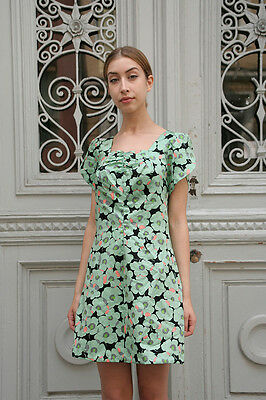 Donna Vestito Abito Estivo 60er Fiori Mint True Vintage Women Dress Flowers 60s-mostra Il Titolo Originale