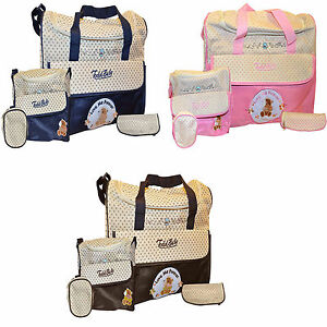 New Todd Baby 5pc Diaper Nappy Changing Shoulder Bottle Food Bag Holder Set