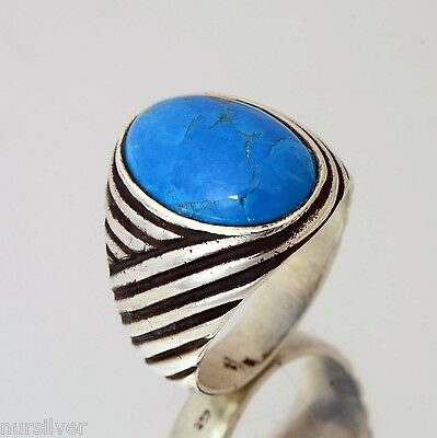 Hand made finish mens ring with Turquoise stone -Sterling Silver ring 925