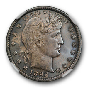 1892 25c Barber Quarter NGC MS 63 Uncirculated Darkly Toned First Year Of Issue