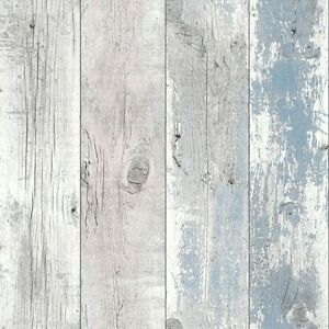 Image Is Loading Nautical Blue Driftwood Wallpaper Shabby Chic Design Studio