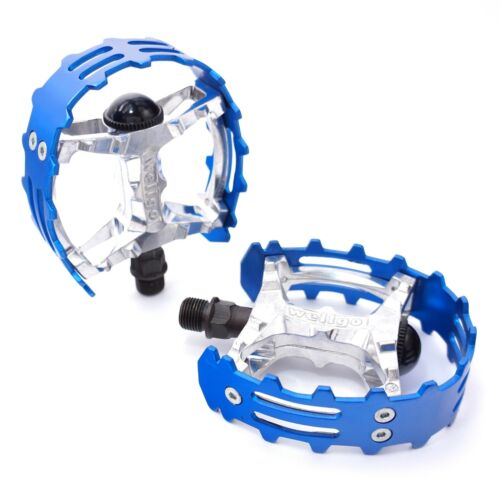 """Wellgo Old school BMX XC-II bear trap pedals 9//16/"""" FOR 3 PIECE CRANKS Blue Cage"""