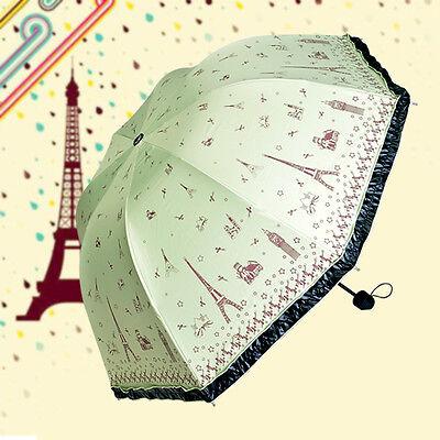 On Sale Women Anti UV Parasol Eiffel Tower Print Folding Rain Umbrella Green