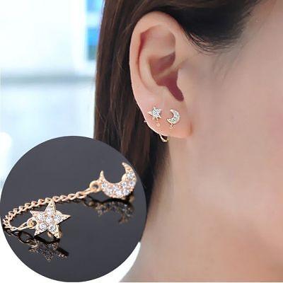 Retro Two Piercing Earring Ear Cuff Chain Clip Double Earrings Fashion Ebay