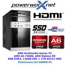 GAMER KOMPLETT PC AMD DUAL CORE A6-7400K 8GB Radeon R5 120GB SSD USB3.0 COMPUTER