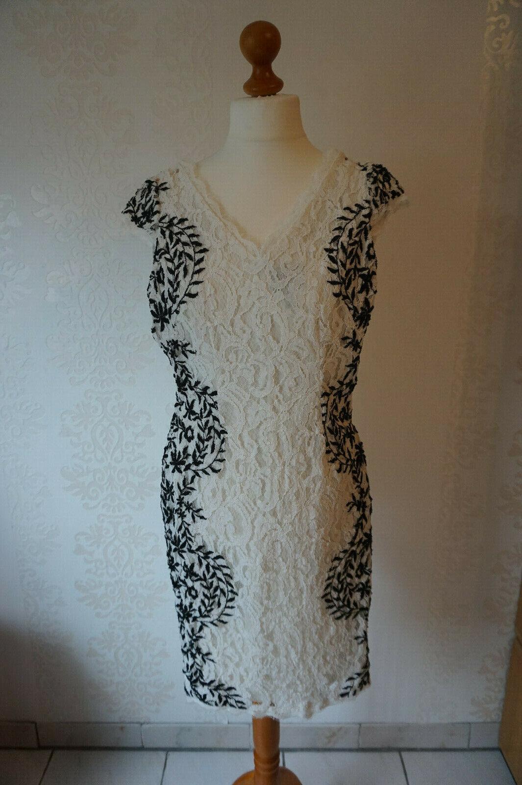 Schönes Kleid Adrianna Papell Gr. 36 S Spitze creme schwarz V Neck